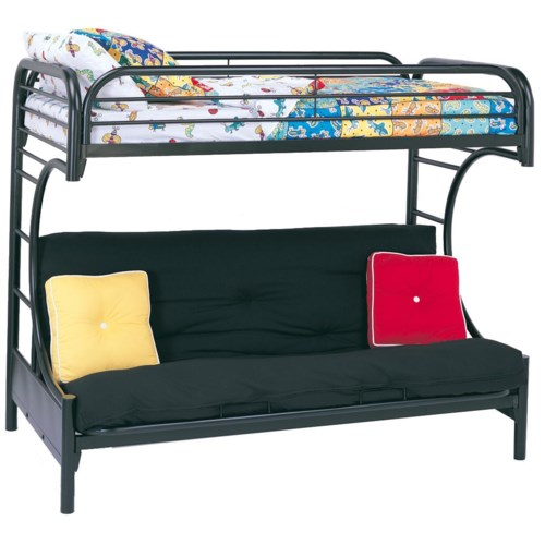 Coaster Metal Beds C Style Twin Over Full Futon Bunk Bed Fine Furniture