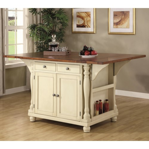 Coaster Kitchen Carts Two Tone Kitchen Island With Drop Leaves Coaster Fine Furniture
