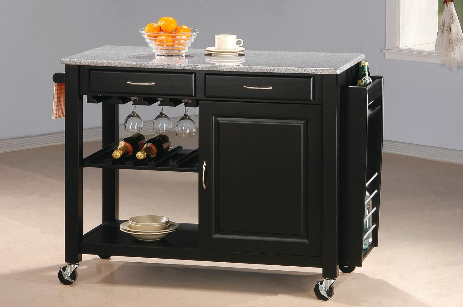 Coaster Kitchen Carts Kitchen Cart With Granite Top   Coaster Fine Furniture