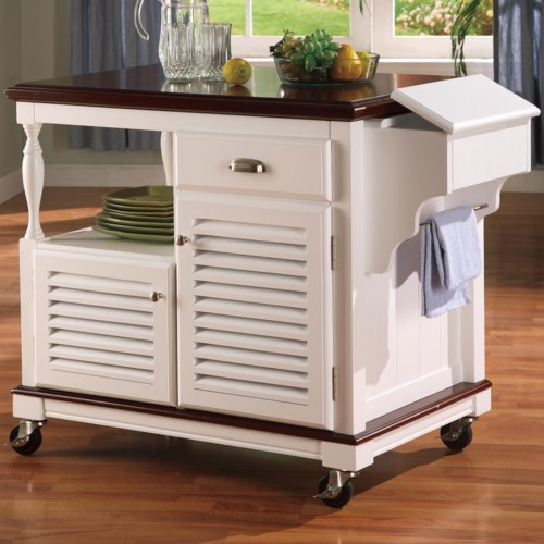 Coaster Kitchen Carts Cherry Topped Cart Fine Furniture