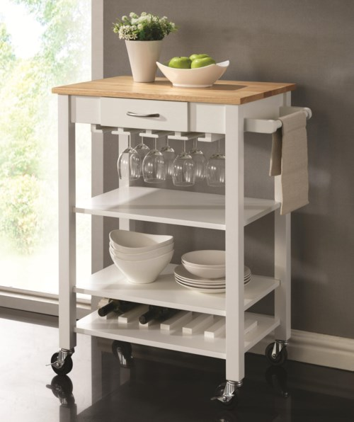 Coaster Kitchen Carts White/Natural Kitchen Cart With Butcher
