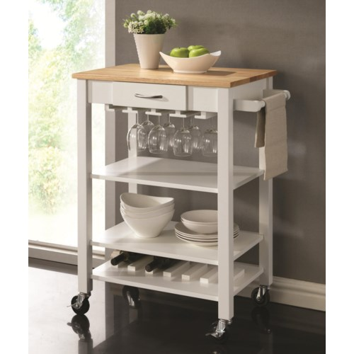 Coaster Kitchen Carts White/Natural Kitchen Cart with Butcher ...