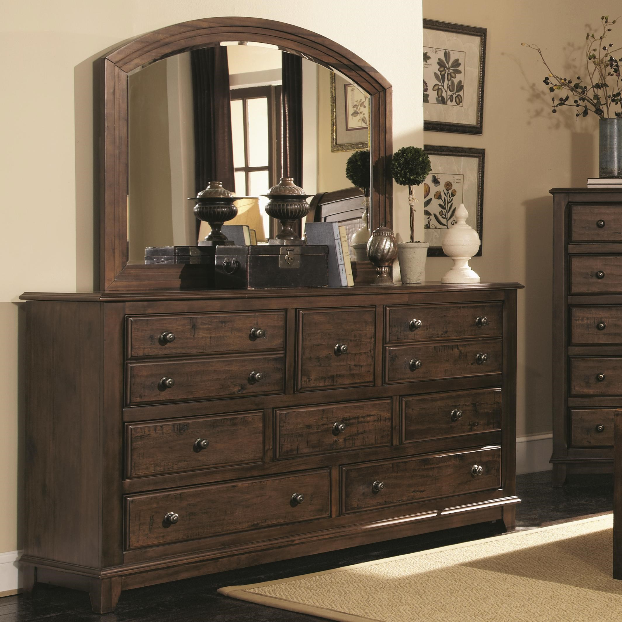 Coaster Laughton 8 Drawer Dresser And Rounded Mirror   Coaster Fine  Furniture