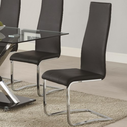 Coaster Modern Dining Black Faux Leather Chair With Chrome Legs Fine Furniture