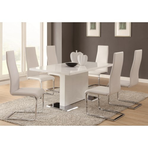 Coaster Modern Dining 7 Piece White Table & White Upholstered Chairs ...