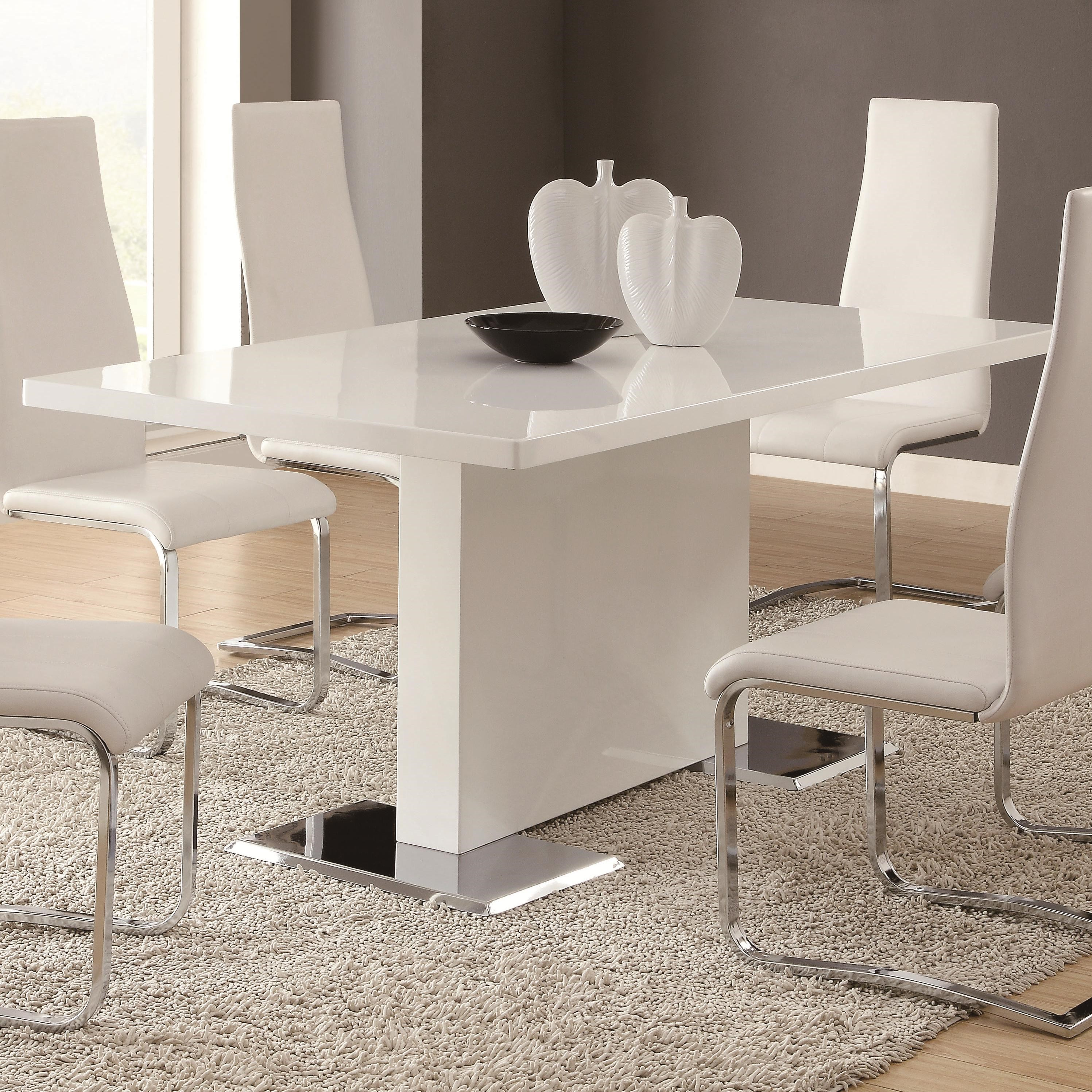 Coaster Modern Dining White Dining Table With Chrome Metal Base   Coaster  Fine Furniture