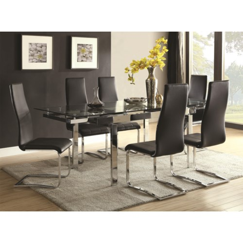 Coaster Modern Dining Contemporary Dining Room Set With Glass ...