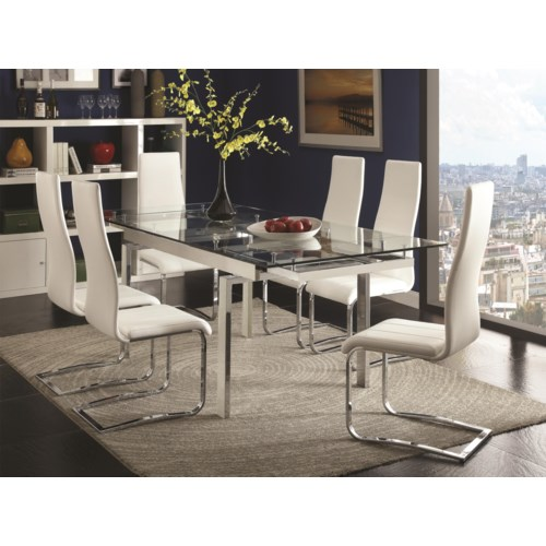 coaster modern dining contemporary dining room set with glass table coaster fine furniture - Contemporary Dining Room Tables