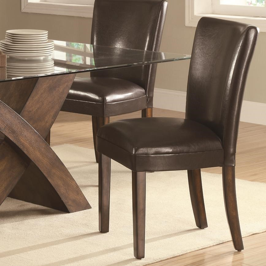 Coaster Nessa Brown Leather Like Vinyl Parsons Chair   Coaster Fine  Furniture