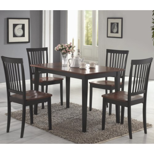 Coaster oakdale 5 piece dining set coaster fine furniture for 2 tone dining room sets