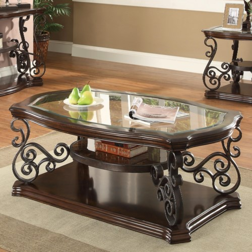 Coaster Occasional Group Traditional Coffee Table With Tempered Gl Top Ornate Metal Scrollwork Fine Furniture