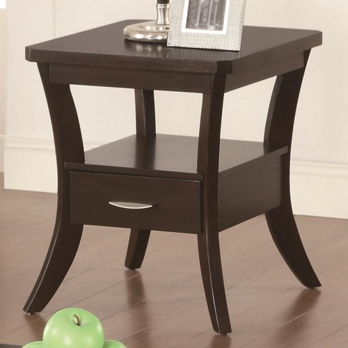 Coaster Occasional Group Flared Leg End Table With Drawer