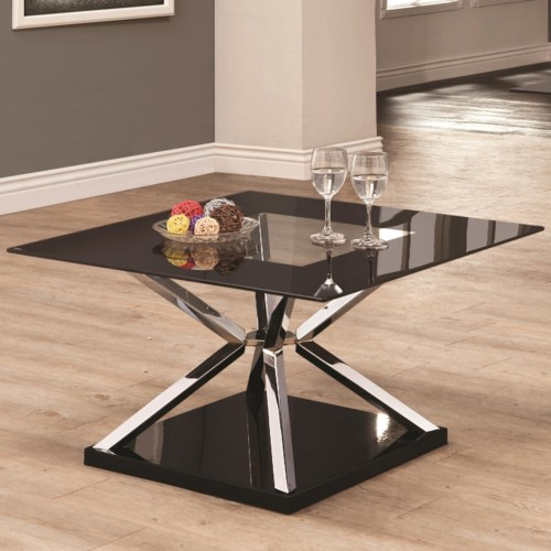 Coaster Occasional Group 702630 Square Cocktail Table w/ Glass Top