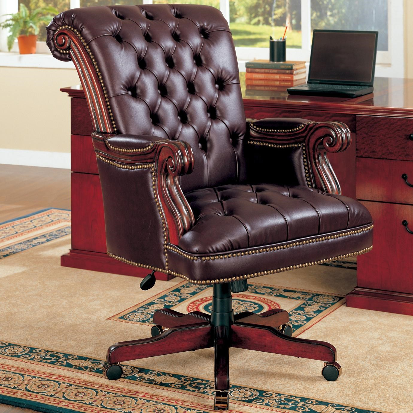 Elegant Coaster Office Chairs Traditional Leather Executive Chair   Coaster Fine  Furniture