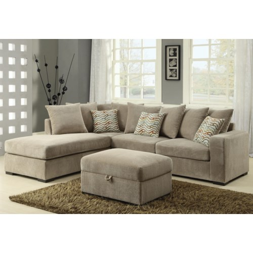 coaster olson contemporary reversible sectional with chaise coaster fine furniture - Sectional With Chaise
