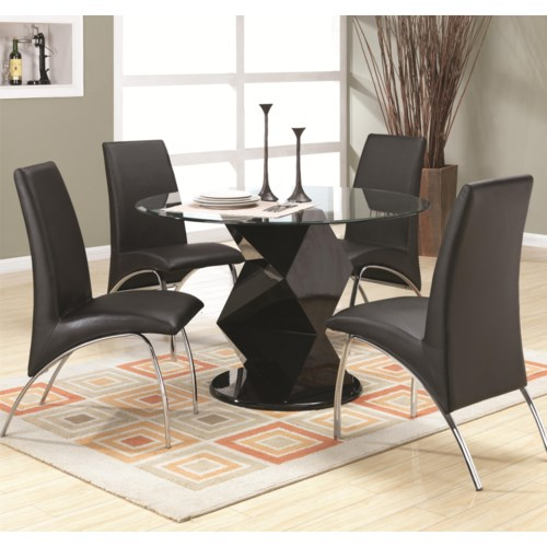 Coaster ophelia contemporary five piece dining set with for Furniture r us philadelphia