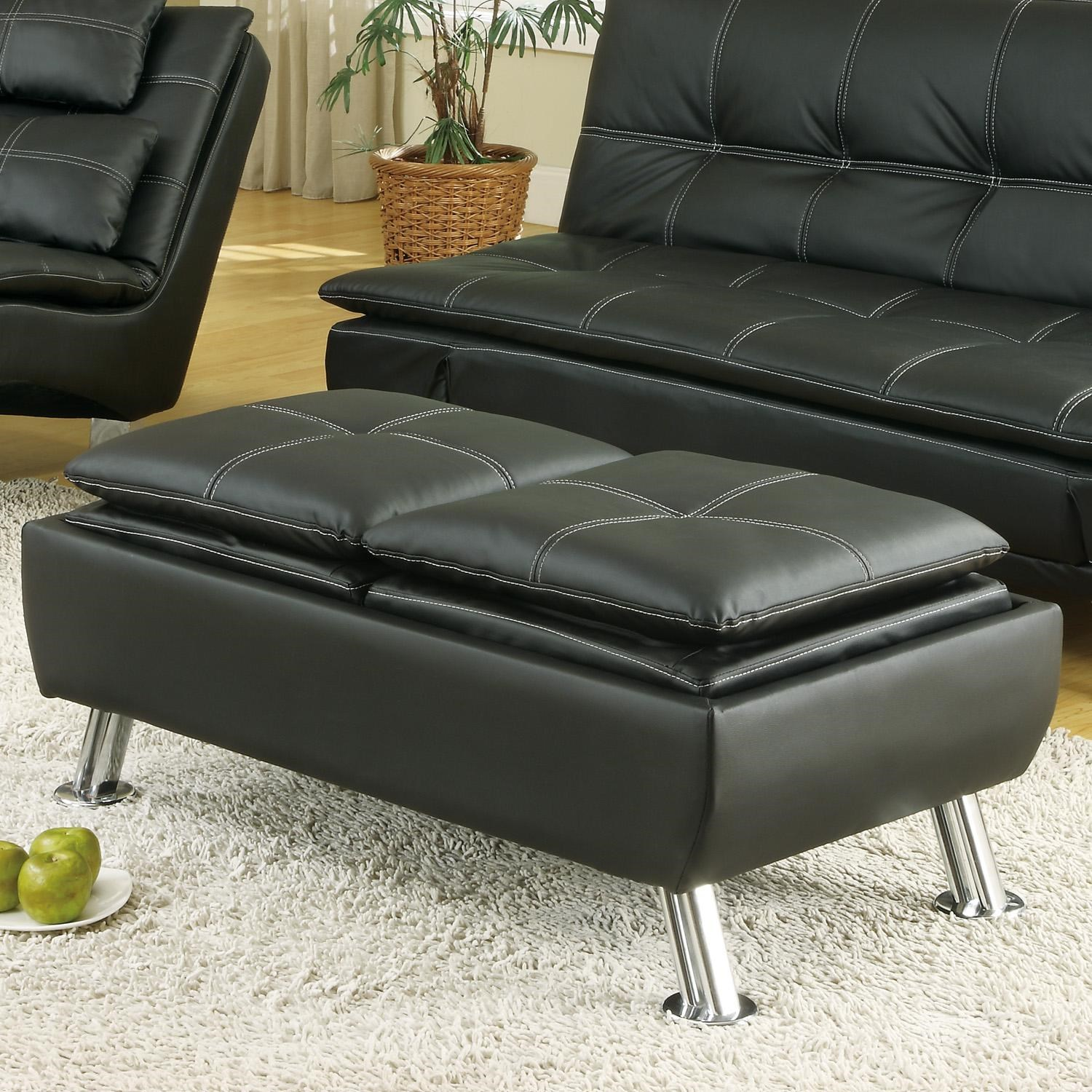 Coaster Ottomans Faux Leather Storage Ottoman With Reversible Tray Tops    Coaster Fine Furniture