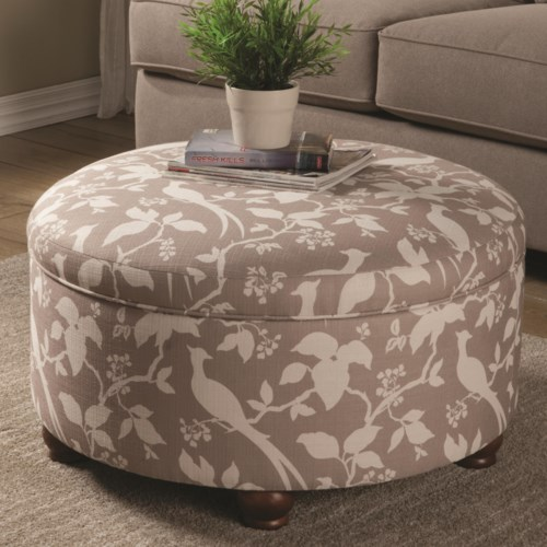 - Coaster Ottomans Round Storage Ottoman - Coaster Fine Furniture