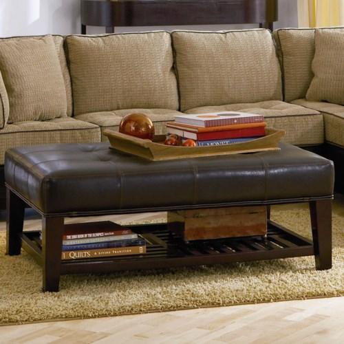 Coaster Ottomans Contemporary Faux Leather Tufted Ottoman with Storage  Shelf - Coaster Fine Furniture - Coaster Ottomans Contemporary Faux Leather Tufted Ottoman With