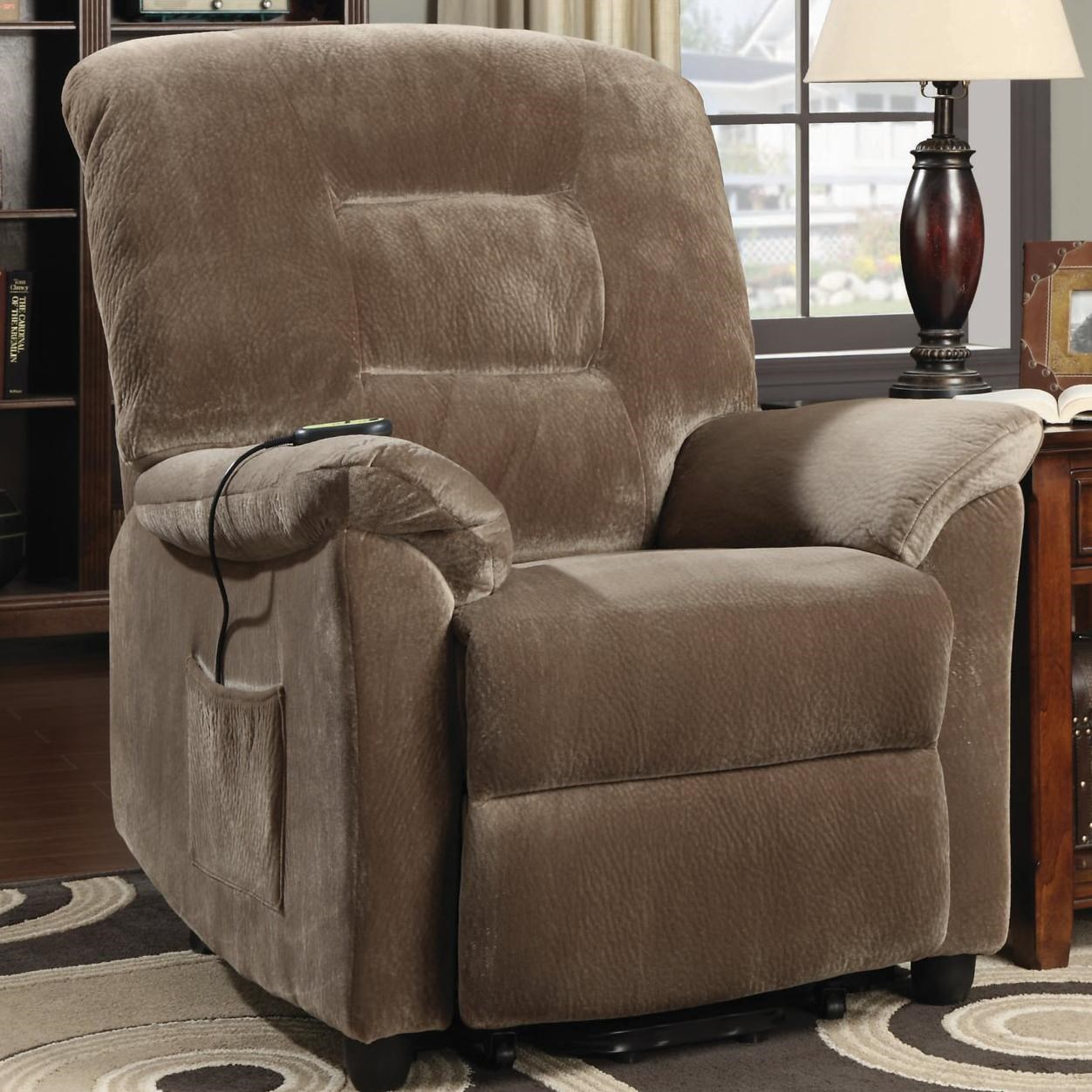 Coaster Recliners Casual Power Lift Recliner with Brown Sugar Upholstery - Coaster Fine Furniture : coaster power lift recliner - islam-shia.org