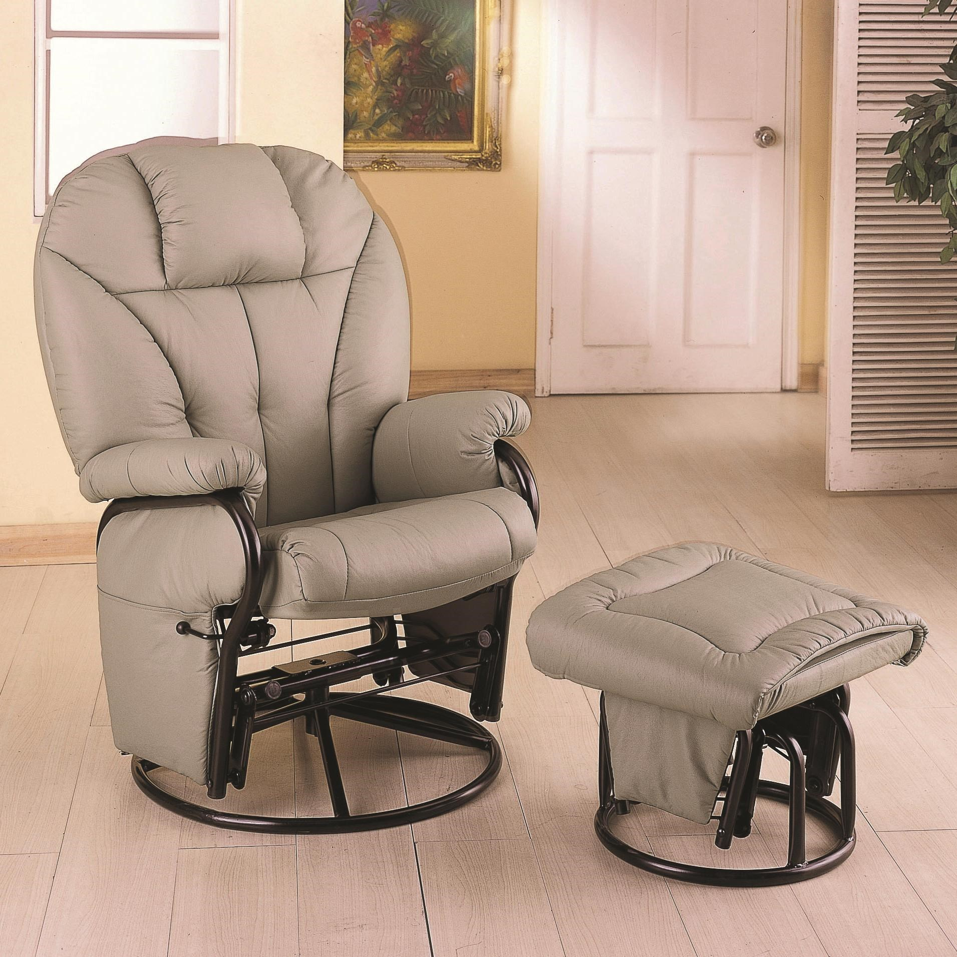 Coaster Recliners With Ottomans Leatherette Recliner With Matching Ottoman    Coaster Fine Furniture