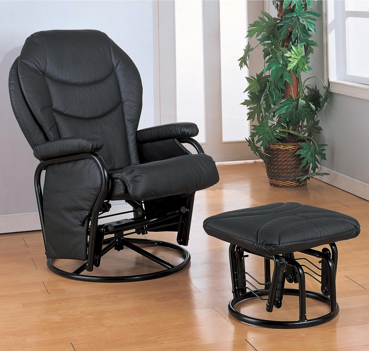 Shown in Black & Coaster Recliners with Ottomans Glider Rocker with Round Base ... islam-shia.org