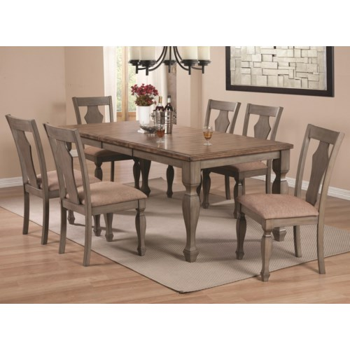 Coaster riverbend 7 piece two tone table set coaster for 2 tone dining room sets