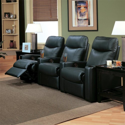 Coaster Director Casual Upholstered Reclining Theater Group