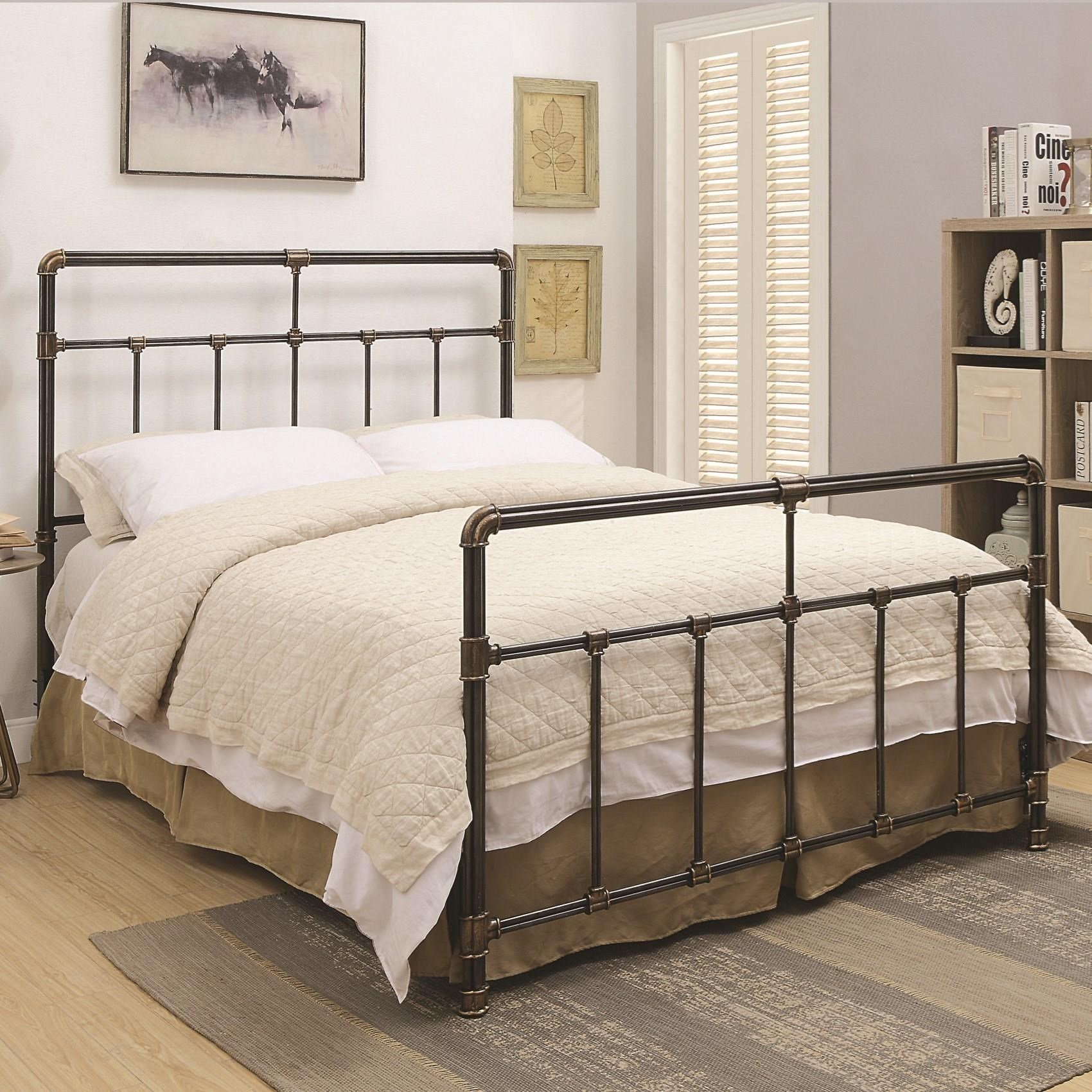 Coaster Silas Metal King Bed With Antique Brass Accents   Coaster Fine  Furniture