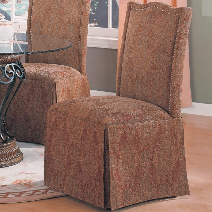 Coaster Slauson Upholstered Parson Chair With Nail Head Trim And Skirt    Coaster Fine Furniture