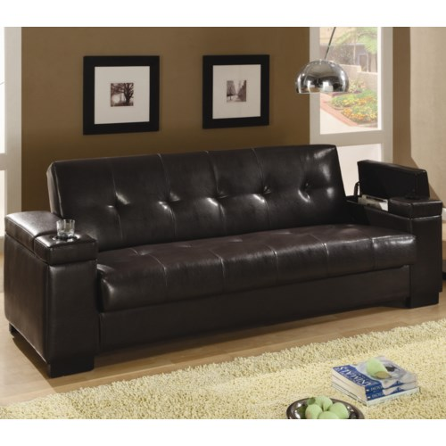 Coaster Sofa Beds And Futons Faux Leather Convertible Sleeper With Storage Fine Furniture