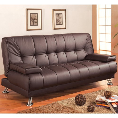 Coaster Sofa Beds And Futons Faux Leather Convertible Bed With Removable Armrests Fine Furniture