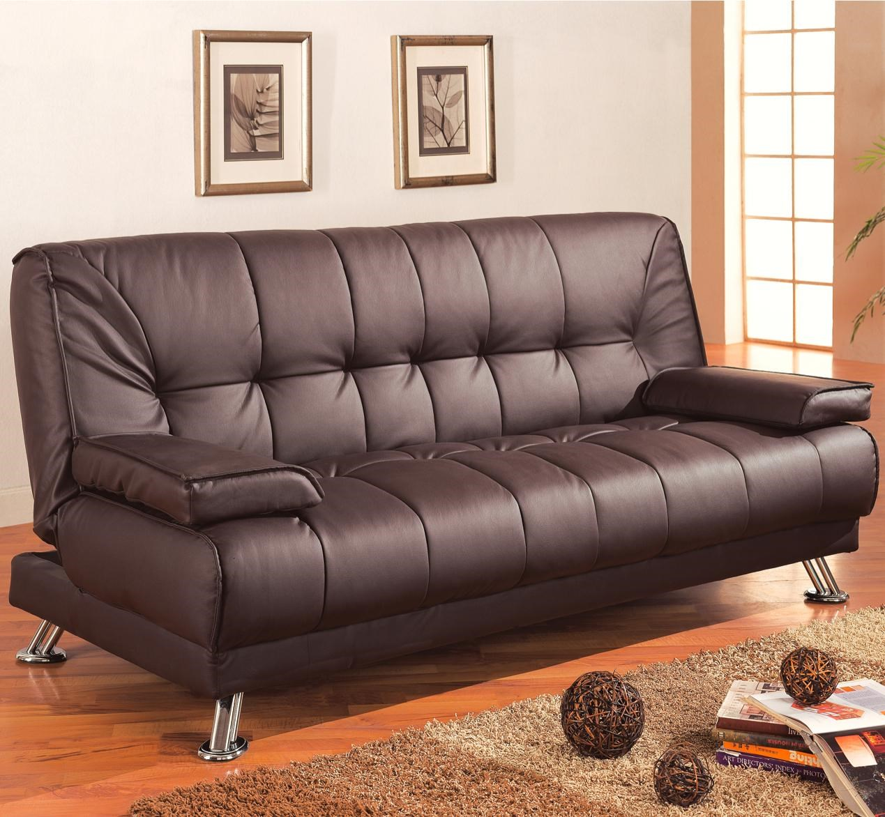coaster sofa beds and futons faux leather convertible sofa bed with removable armrests coaster fine furniture