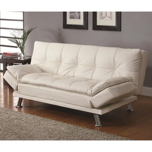 Coaster Sofa Beds And Futons Contemporary Styled Futon Sleeper With Casual Seam Sching Fine Furniture