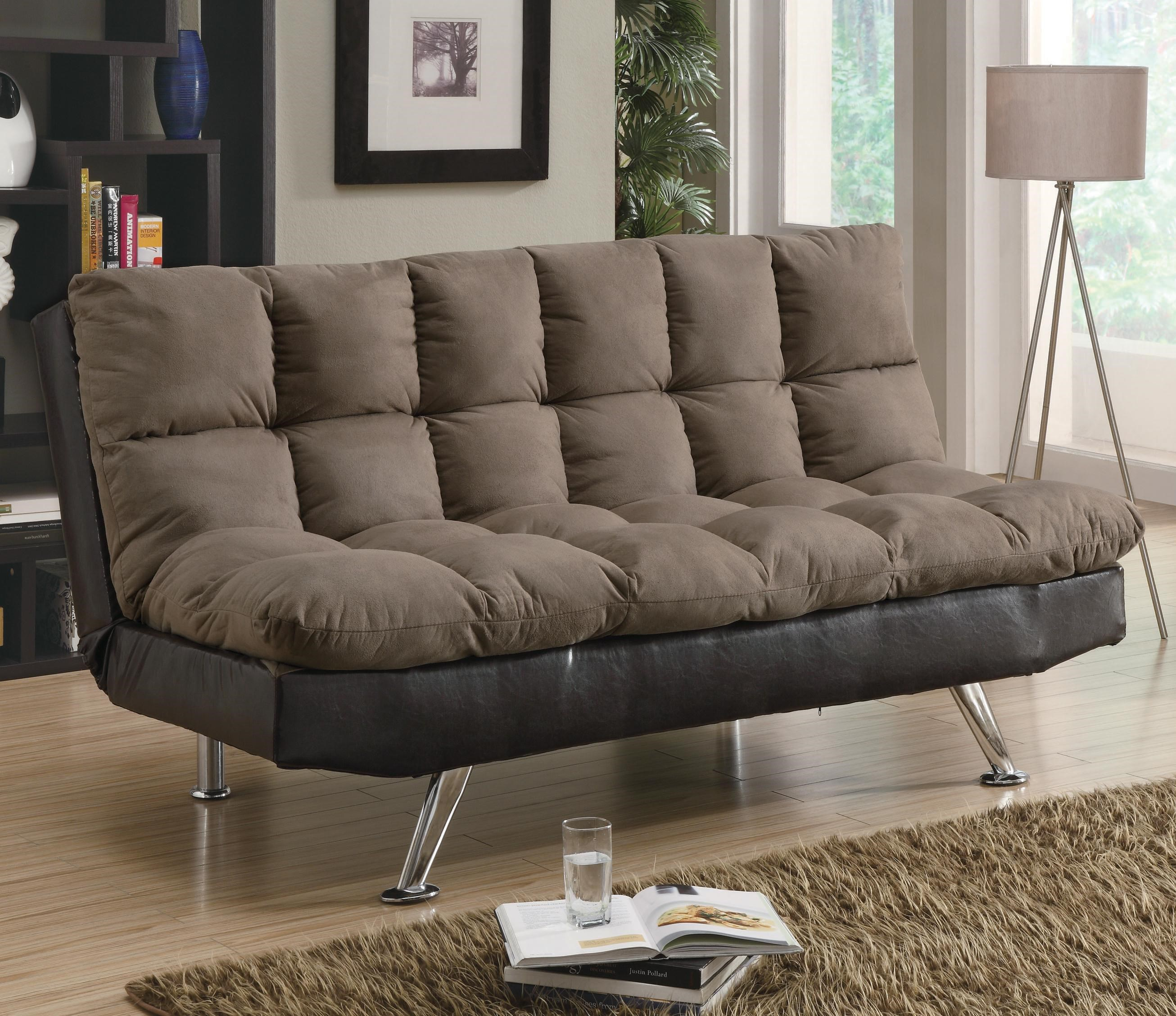 Charmant Coaster Sofa Beds And Futons Contemporary Brown Microfiber/Dark Brown Vinyl  Sofa Bed   Coaster Fine Furniture