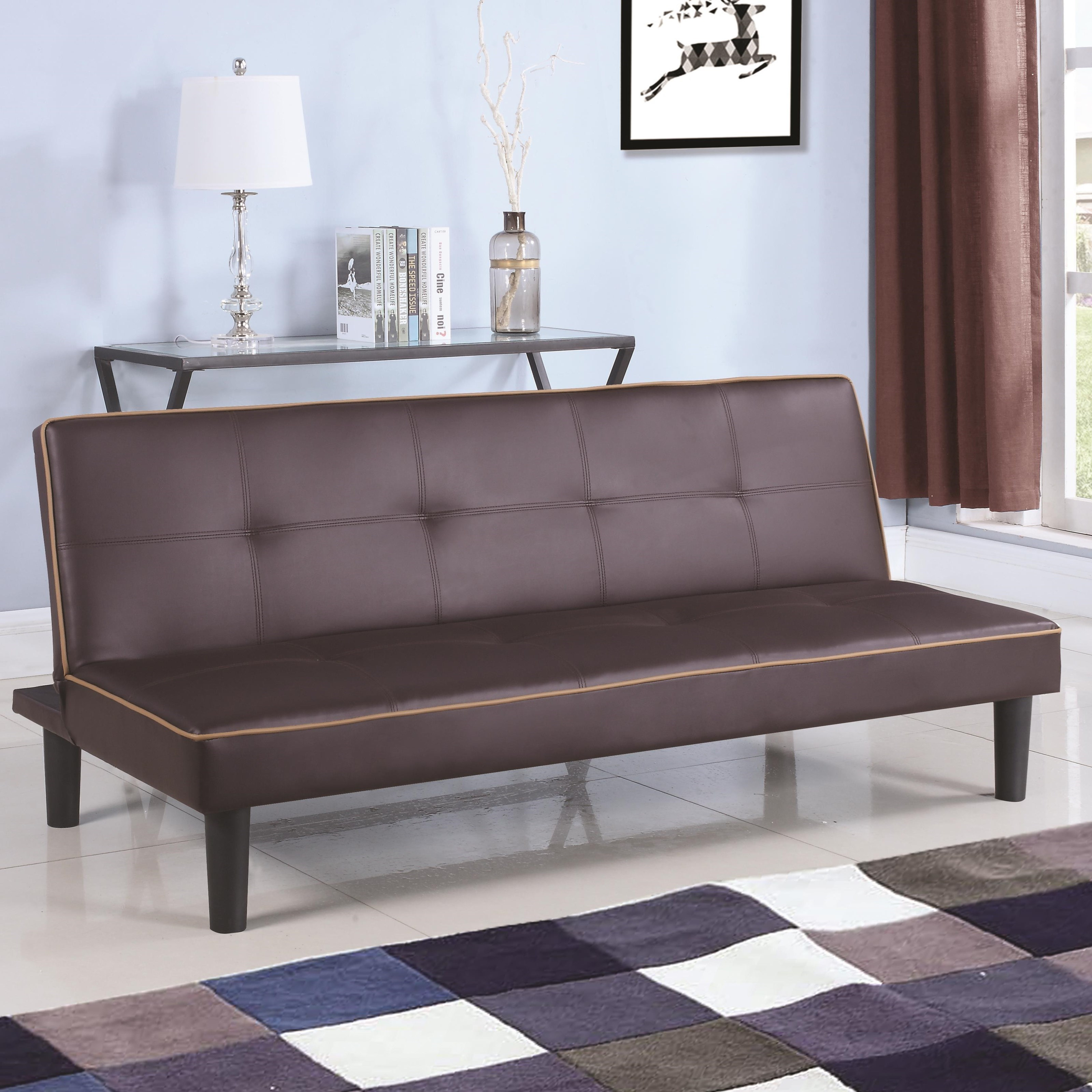 Coaster Sofa Beds And Futons Leatherette Sofa Bed Piping   Coaster Fine  Furniture
