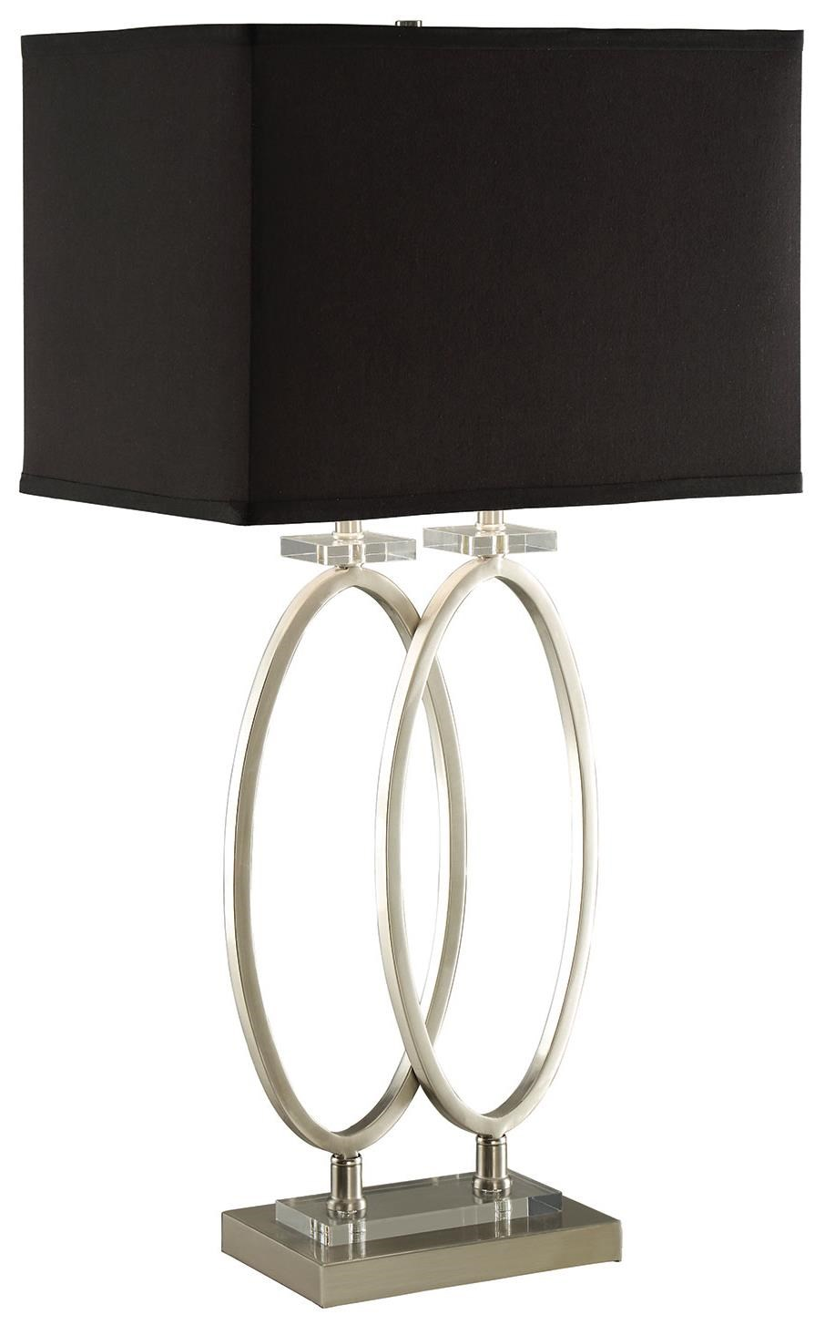 Coaster Table Lamps Brushed Nickel Finish Metal Table Lamp With Black Shade    Coaster Fine Furniture