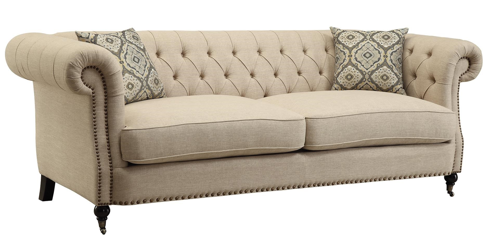 Coaster Trivellato Traditional Button Tufted Sofa With Large Rolled Arms  And Nailheads   Coaster Fine Furniture