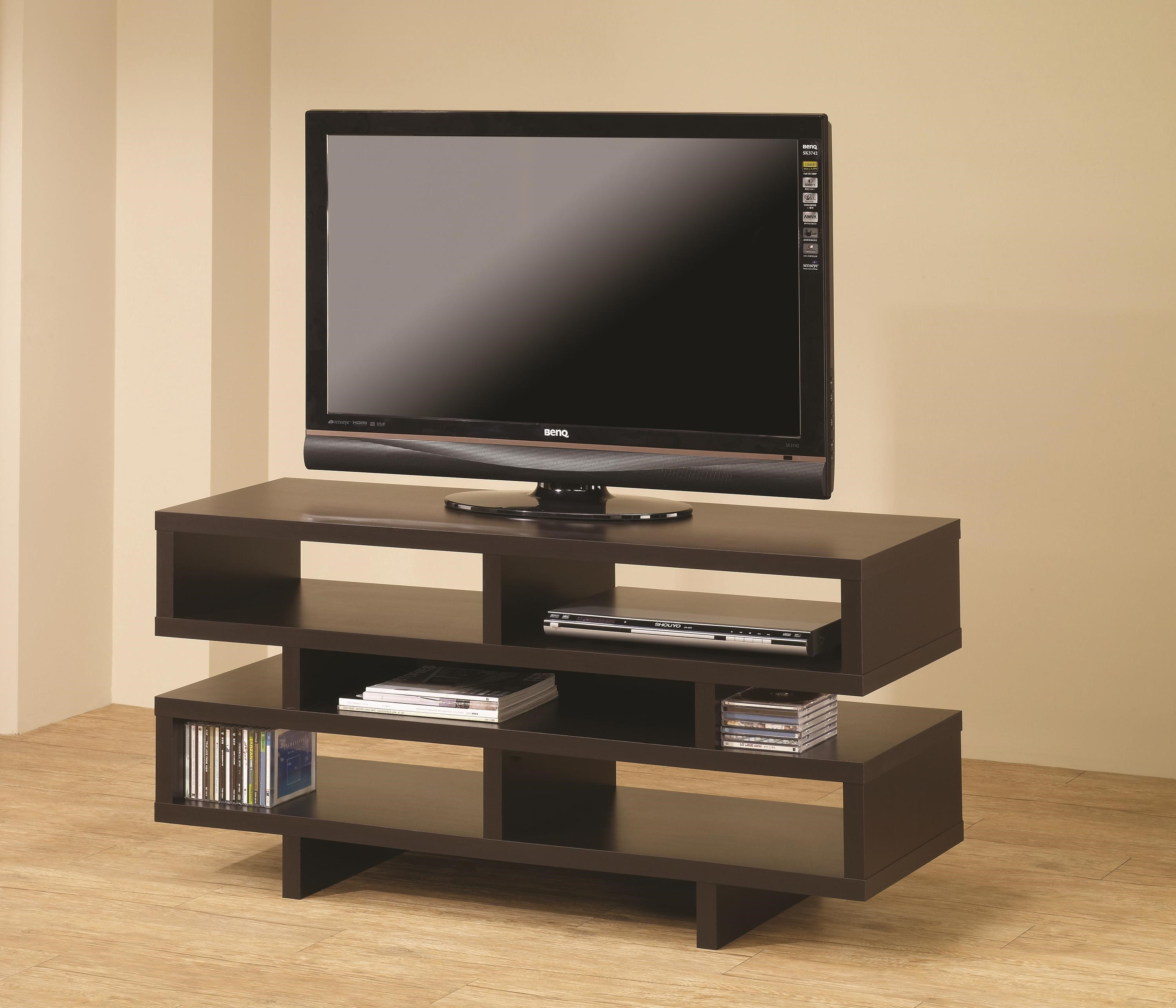 Good Coaster TV Stands Contemporary TV Console With Open Storage U0026 Cappuccino  Finish   Coaster Fine Furniture