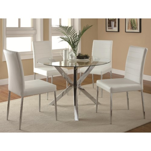 Coaster Vance Contemporary 5 Piece Glass Top Table And