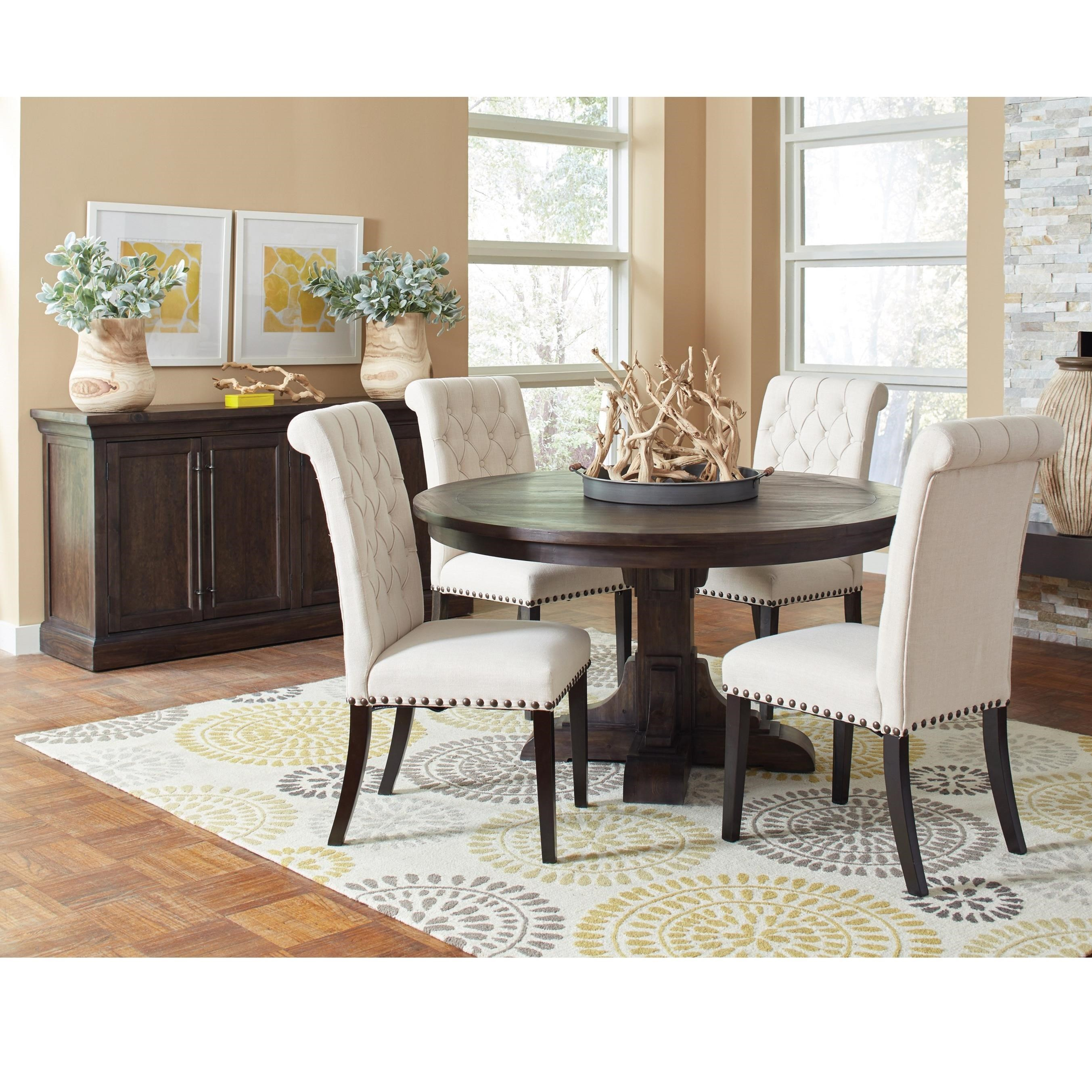 Coaster Weber Casual Dining Room Group With Cream Upholstered Chair    Coaster Fine Furniture
