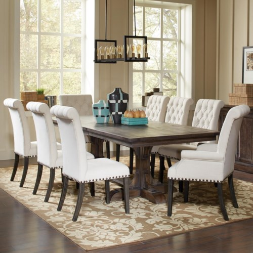 Coaster Weber Traditional Dining Table and Cream Upholstered Chair ...