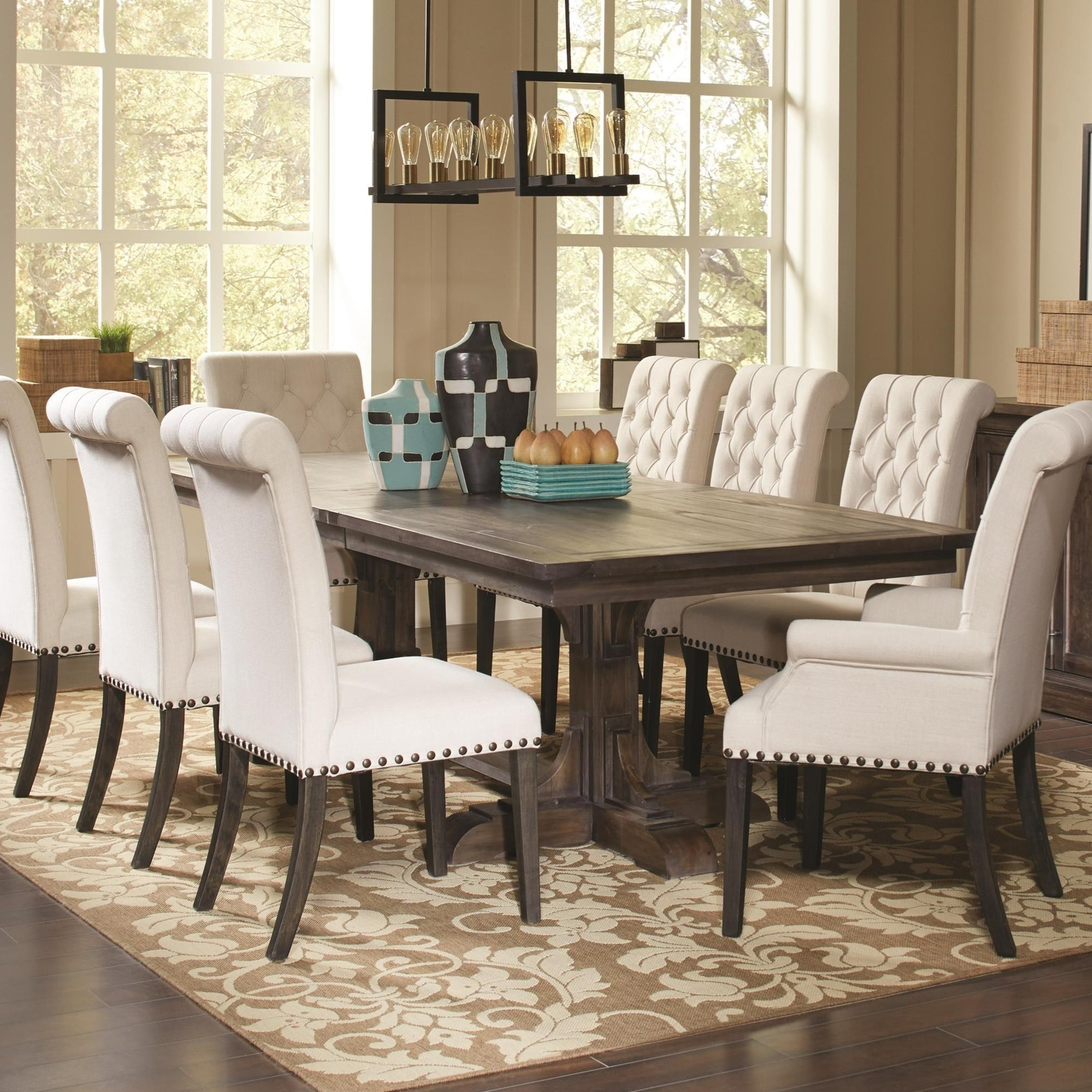 Coaster Weber Traditional Rectangular Dining Table With Ornate Pedestals    Coaster Fine Furniture