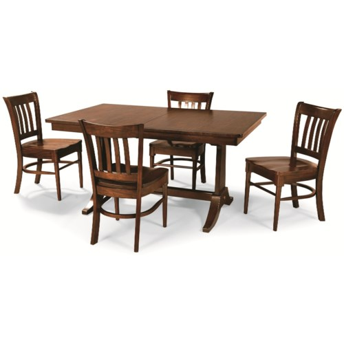 Cochrane Downtown: Solid Mahogany 5-Piece Trestle Table Dining Group