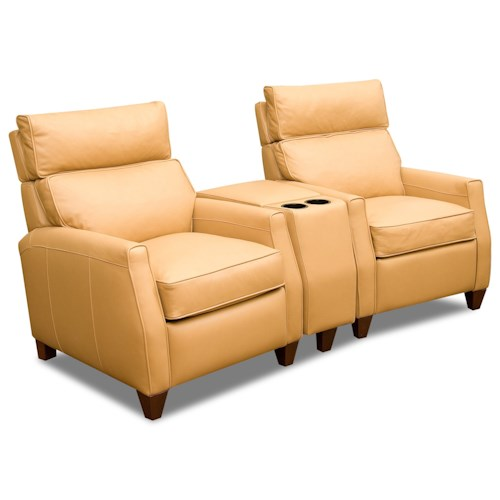 Comfort Design Collins Two Seat Reclining Theater Sectional with High Legs and Adjustable Headrests