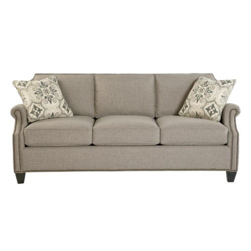 Hickory Craft 938300 Transitional Sofa With Scalloped Border And Nailhead Trim Godby Home