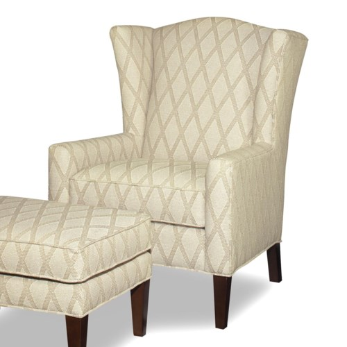 Hickory Craft Accent Chairs Transitional Wing Chair With Wide Flared Wings Godby Home