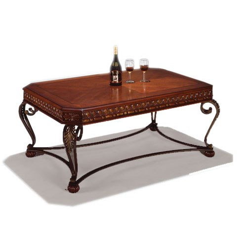 Crown Mark Clairmont Rectangular Wood and Metal Cocktail Table with Cabriole Legs