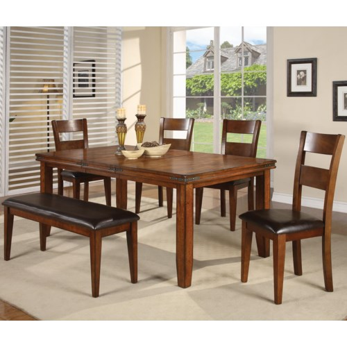 CM Figaro 6 Piece Dining Table and Side Chairs Set with Bench