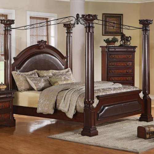 Crown Mark Neo Renaissance King Poster Bed with Decorative Scrollwork
